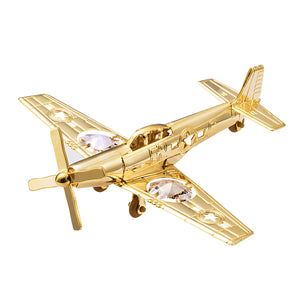 24K gold plated P-51 mustang fighter plane with