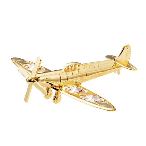 24K gold plated spitfire fighter plane with