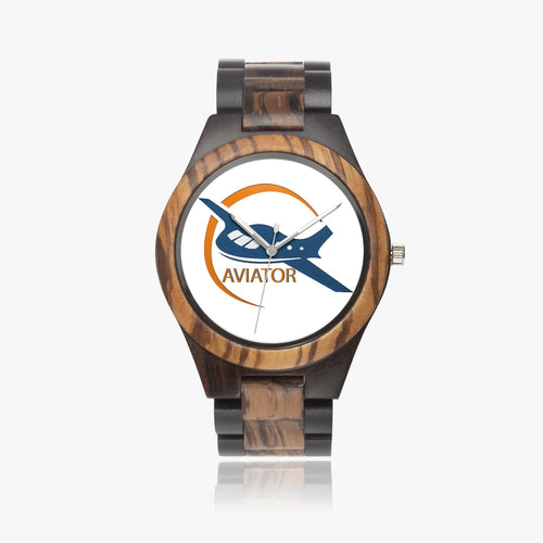 Aviator Ebony Wood Watch