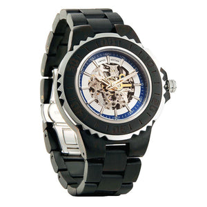 Men's Genuine Automatic Ebony Wooden Watch, No Battery Needed