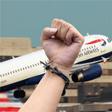 Stainless Steel and Leather Airplane Bracelet for Men and Women