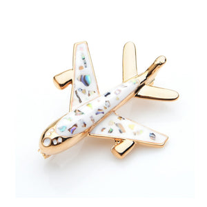 Black or White Airplane Shell-enamel Brooches