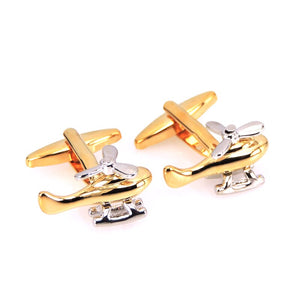 Golden Helicopter Cuff Links