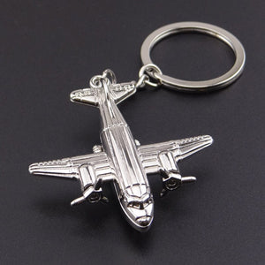 Twin-engine Turboprop Airplane Keychain
