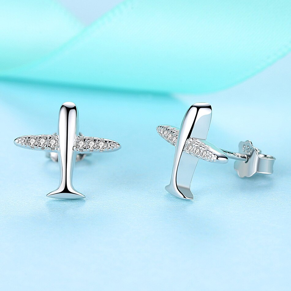 ELESHE New Fashion 925 Silver Airplane Stud Earring with AAA Zircon Crystals