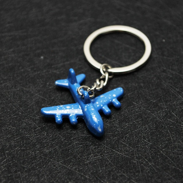 Airplane Model Metal Painted Keychains