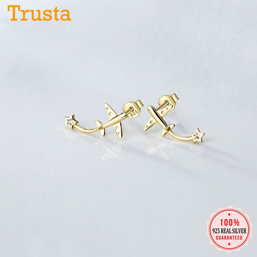 Minimalist 925 Sterling Aircraft Earrings For Women