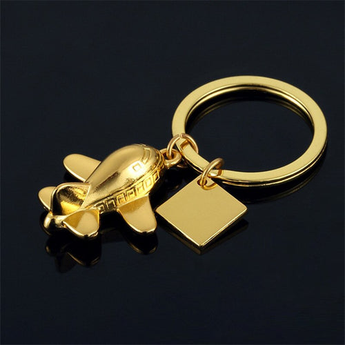 Golden or Silver Airplane Keychain