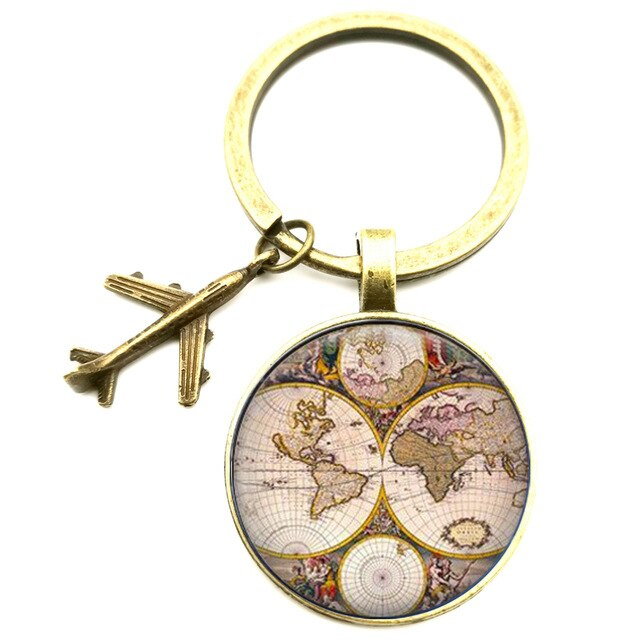 Map, Globe, or Death Star Keychain With Bronze or Silver Airplane