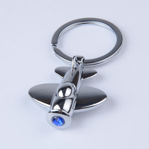 Novelty Aircraft Keychain with Blue Zircon Stone