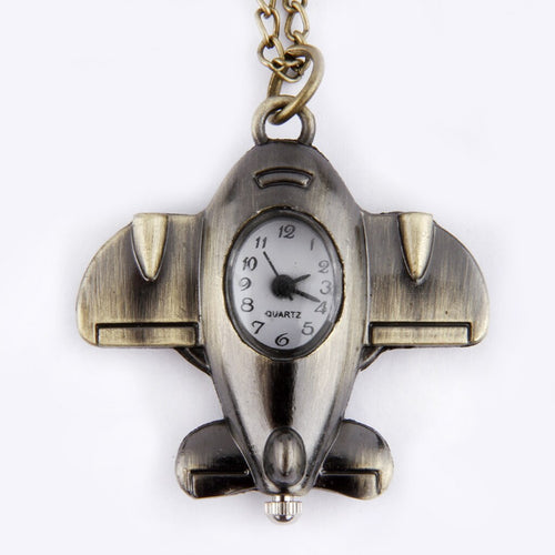Classic Retro Small Airplane Pocket Watch