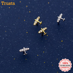 100% Sterling Silver Airplane Earrings