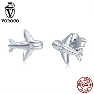 VOROCO 100% 925 Sterling Silver Small Airplane Stud Earrings With Zircon Stone
