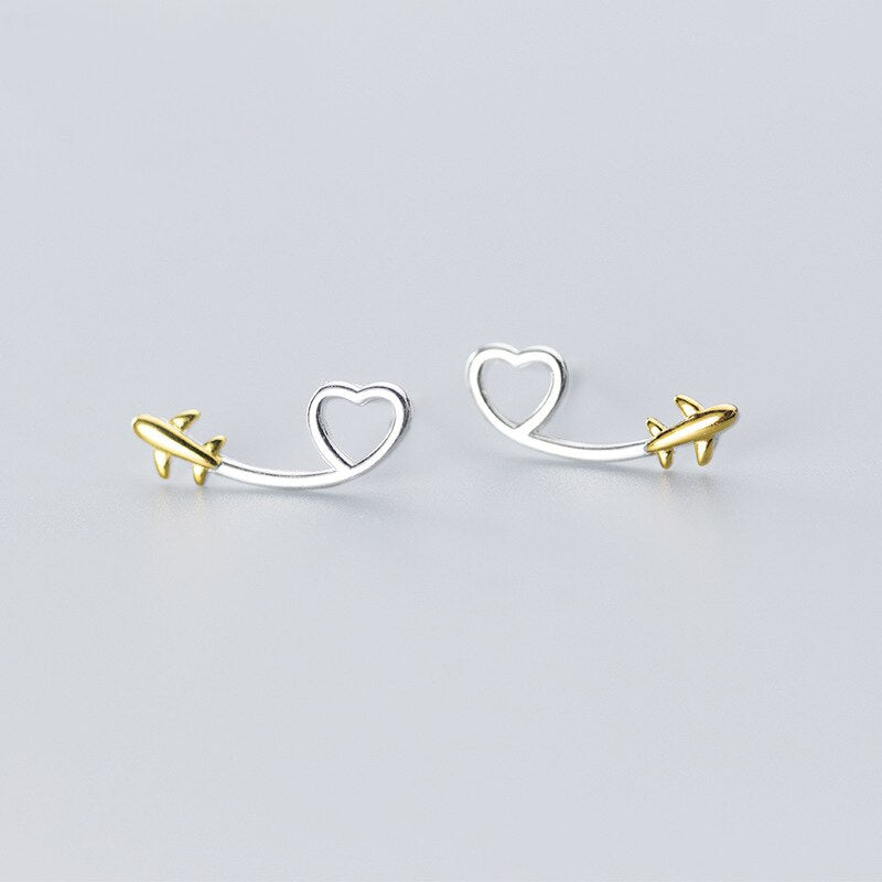 Sterling Silver Heart and Airplane Stud Earrings