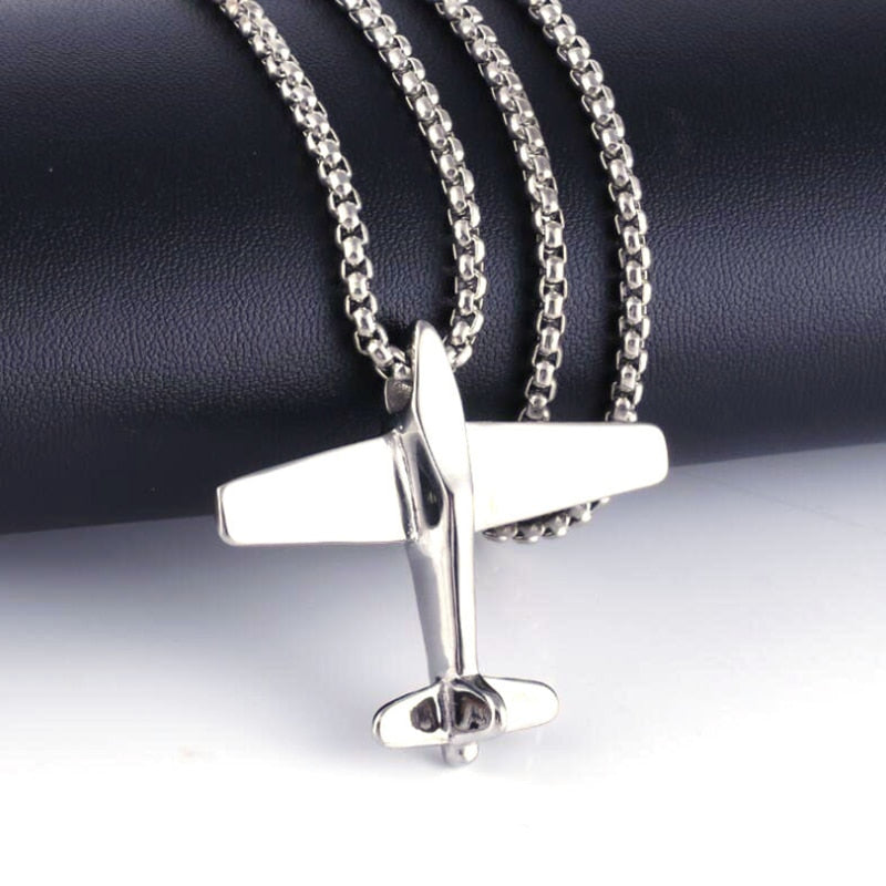 Simple Men's Stainless Steel Airplane Pendant Necklace