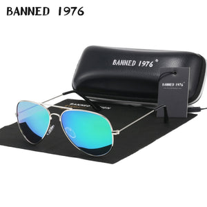 BANNED 1976 Classic HD Metal Frame Polarized Aviator Sunglasses