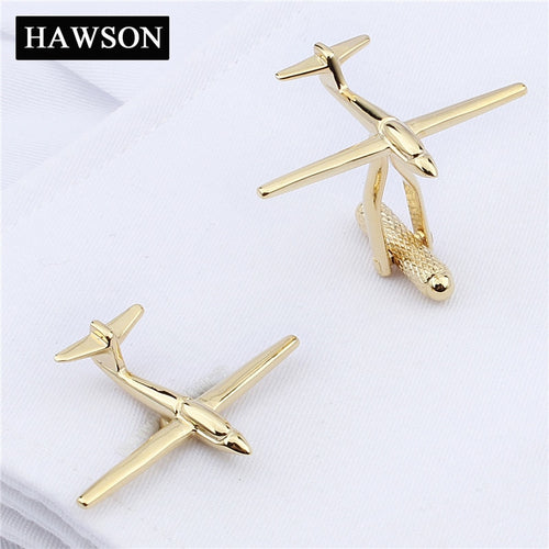 HAWSON Gold-Color Airplane Novelty Cufflinks