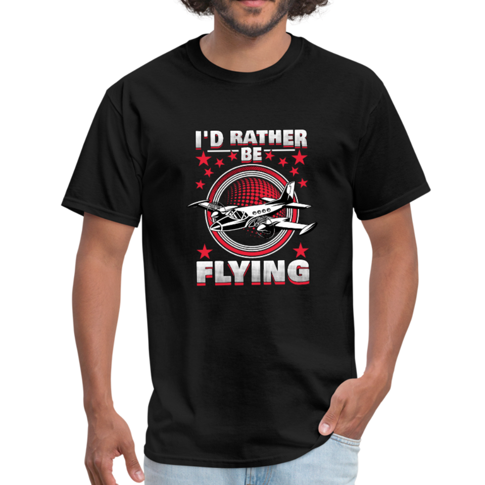 Men's T-Shirt, I'd Rather Be Flying - black