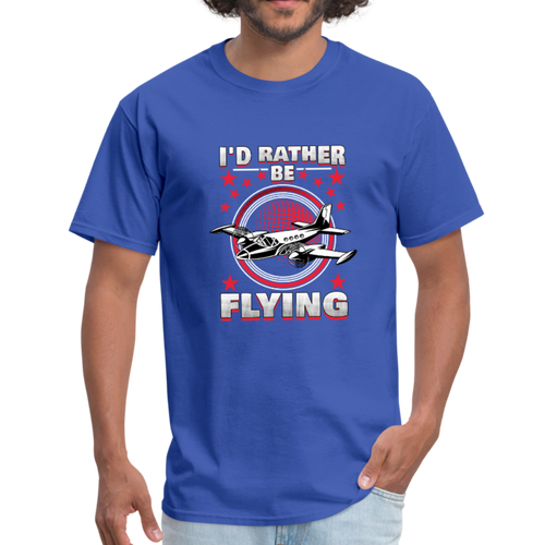 Men's T-Shirt, I'd Rather Be Flying - royal blue