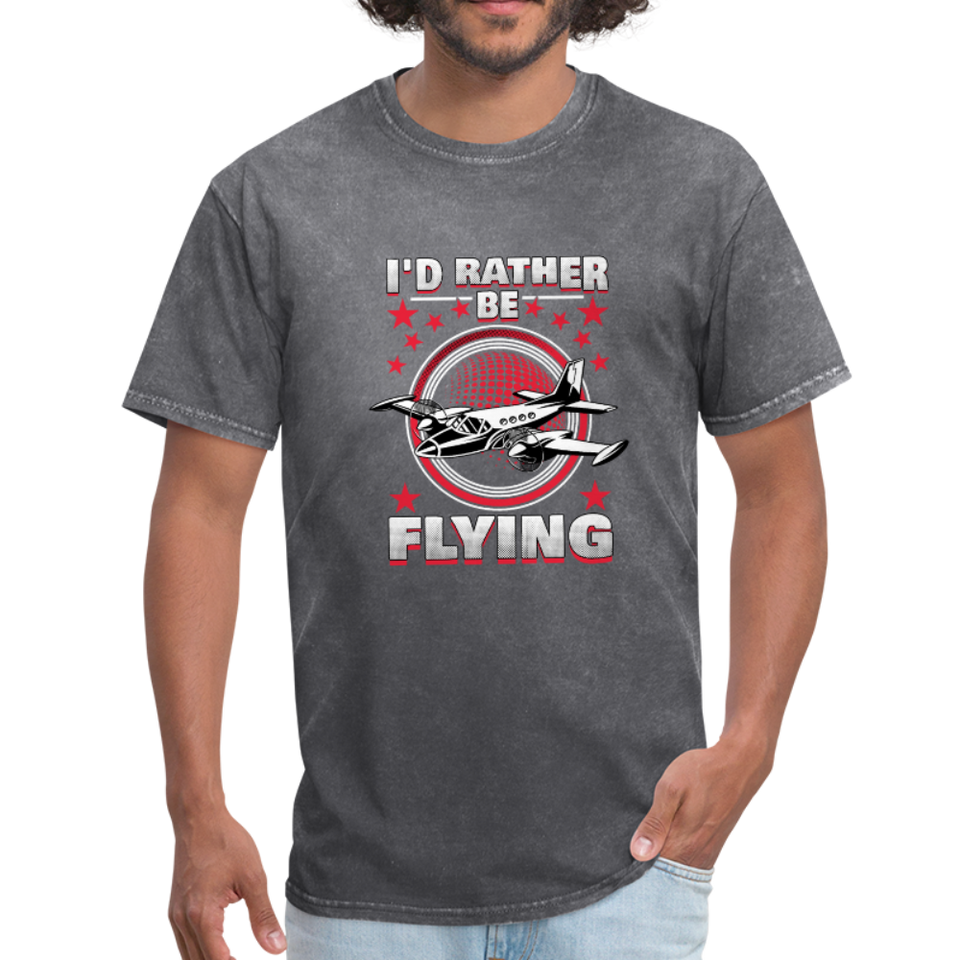 Men's T-Shirt, I'd Rather Be Flying - mineral charcoal gray