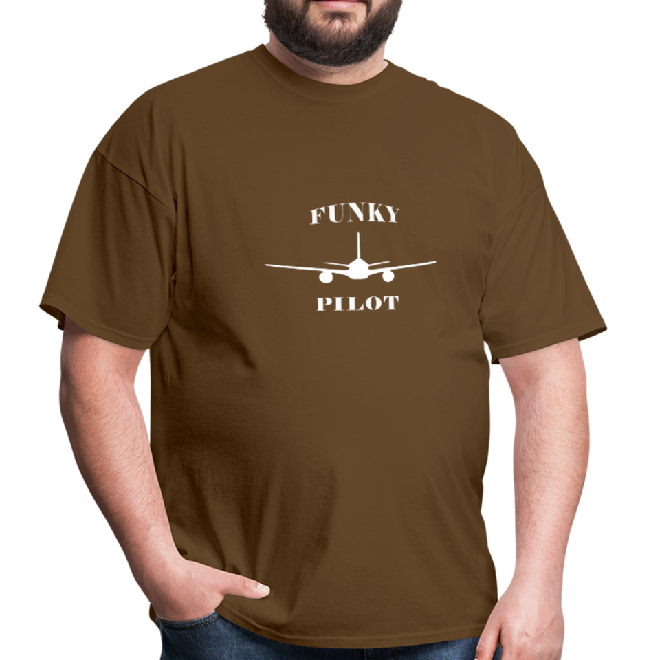 Men's T-Shirt, Low Wing Airplane - brown
