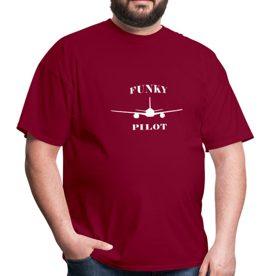 Men's T-Shirt, Low Wing Airplane - burgundy