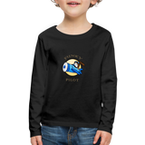 Kids' Premium Long Sleeve T-Shirt, FunkyPilot Bunny - black
