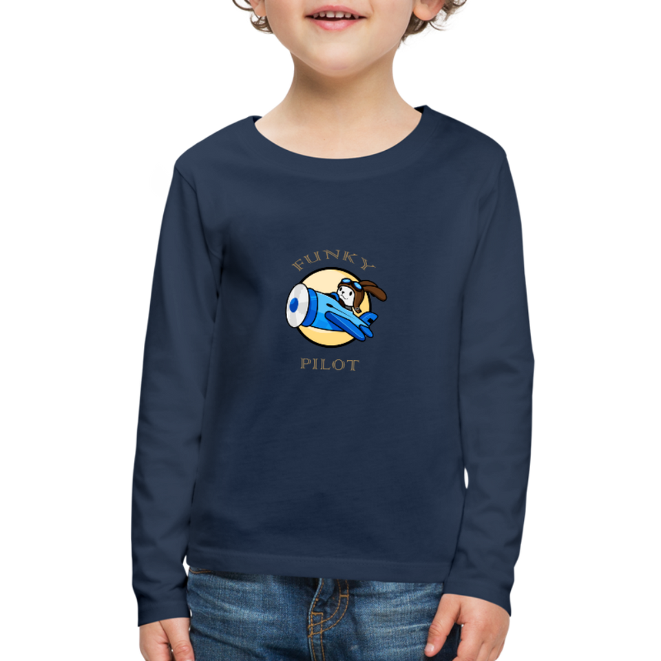 Kids' Premium Long Sleeve T-Shirt, FunkyPilot Bunny - navy