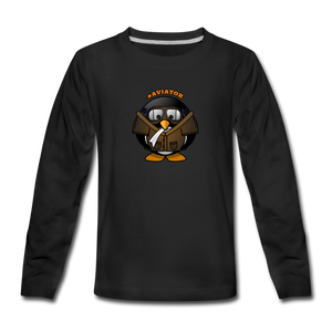 Kids' Premium Long Sleeve T-Shirt, Aviator Penguin - black