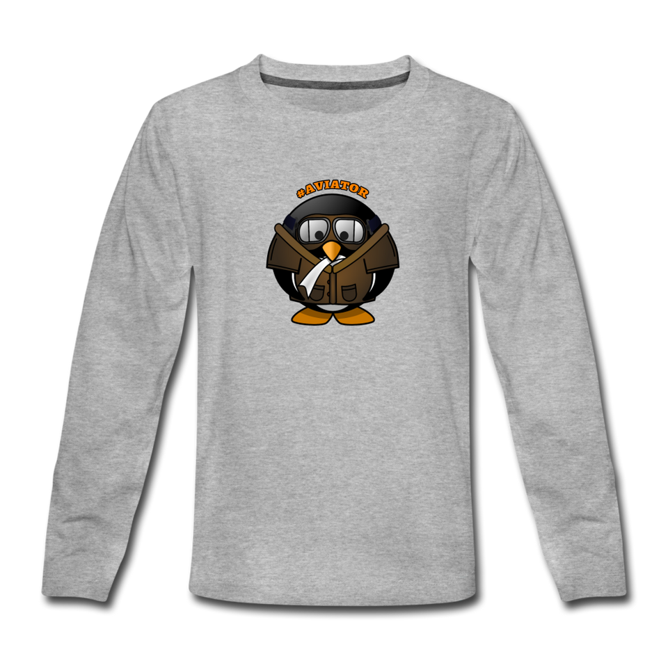 Kids' Premium Long Sleeve T-Shirt, Aviator Penguin - heather gray