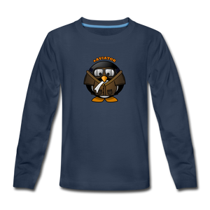 Kids' Premium Long Sleeve T-Shirt, Aviator Penguin - navy