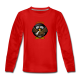 Kids' Premium Long Sleeve T-Shirt, Aviator Penguin - red