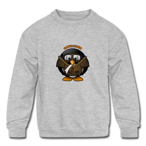 Kids' Crewneck Sweatshirt, Aviator Penguin - heather gray