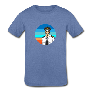 Kids' Tri-Blend T-Shirt, Airline Pilot - heather Blue