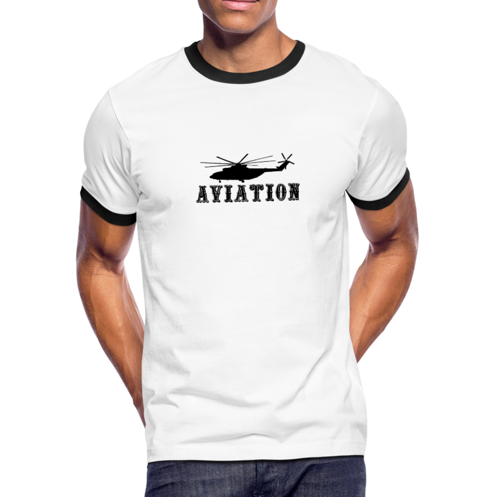 Men's Ringer T-Shirt, Aviation Helicopter - white/black
