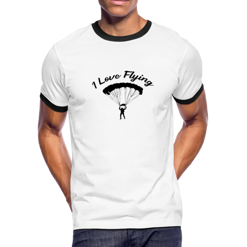 Men's Ringer T-Shirt, I Love Flying - white/black