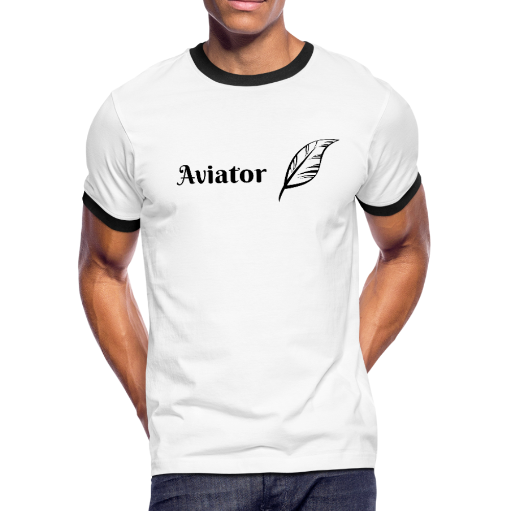 Men's Ringer T-Shirt, Aviator 2 - white/black