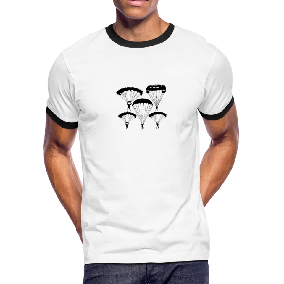 Men's Ringer T-Shirt, Skydiver - white/black