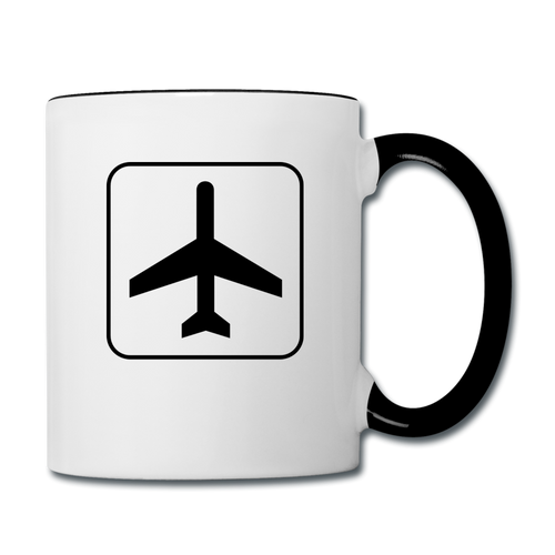Contrast Coffee Mug, Airplane Traffic Sign - white/black