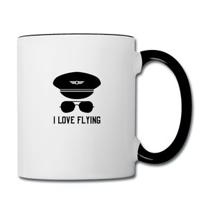 Contrast Coffee Mug, I love Flying for Pilots - white/black