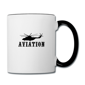Contrast Coffee Mug, Aviation Helicopter - white/black
