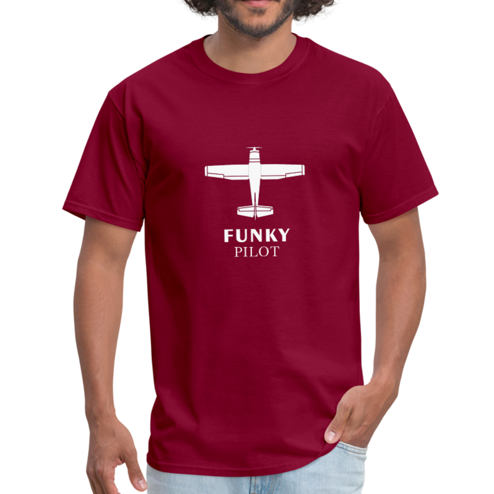 Unisex Classic T-Shirt, Single-Engine Airplane - burgundy
