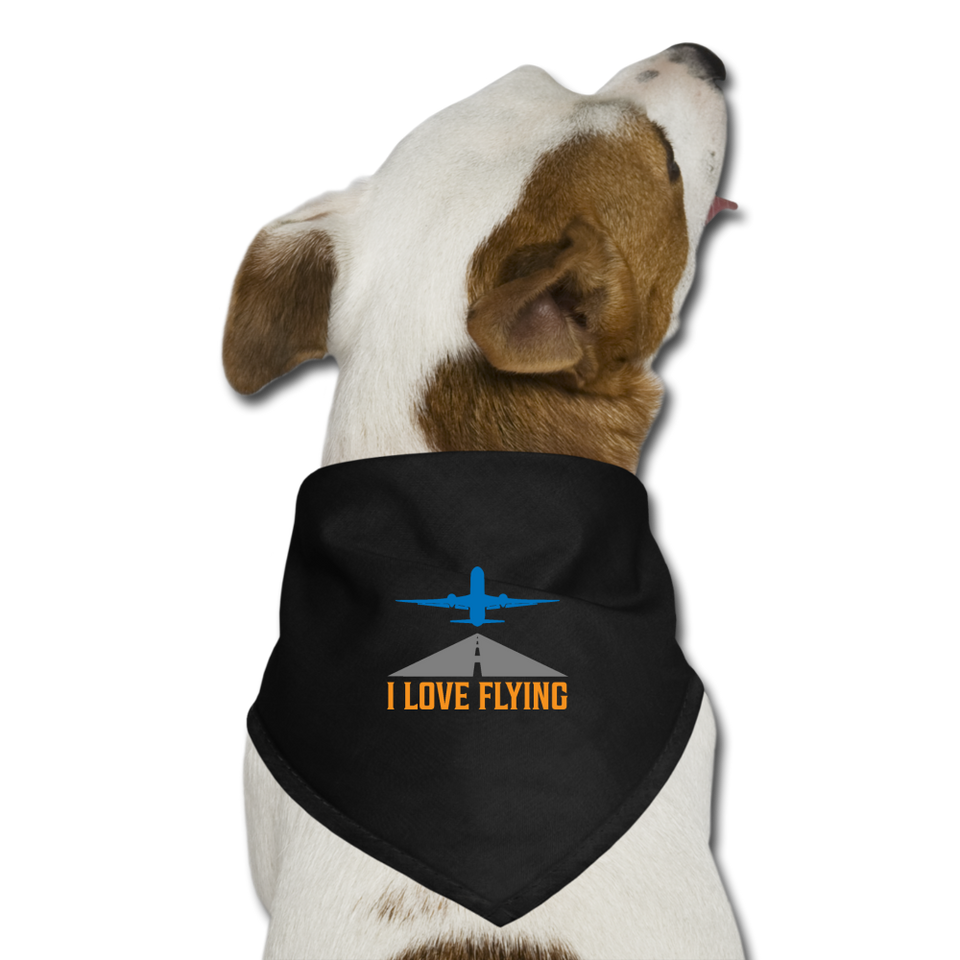 Dog Bandana, I Love Flying - black