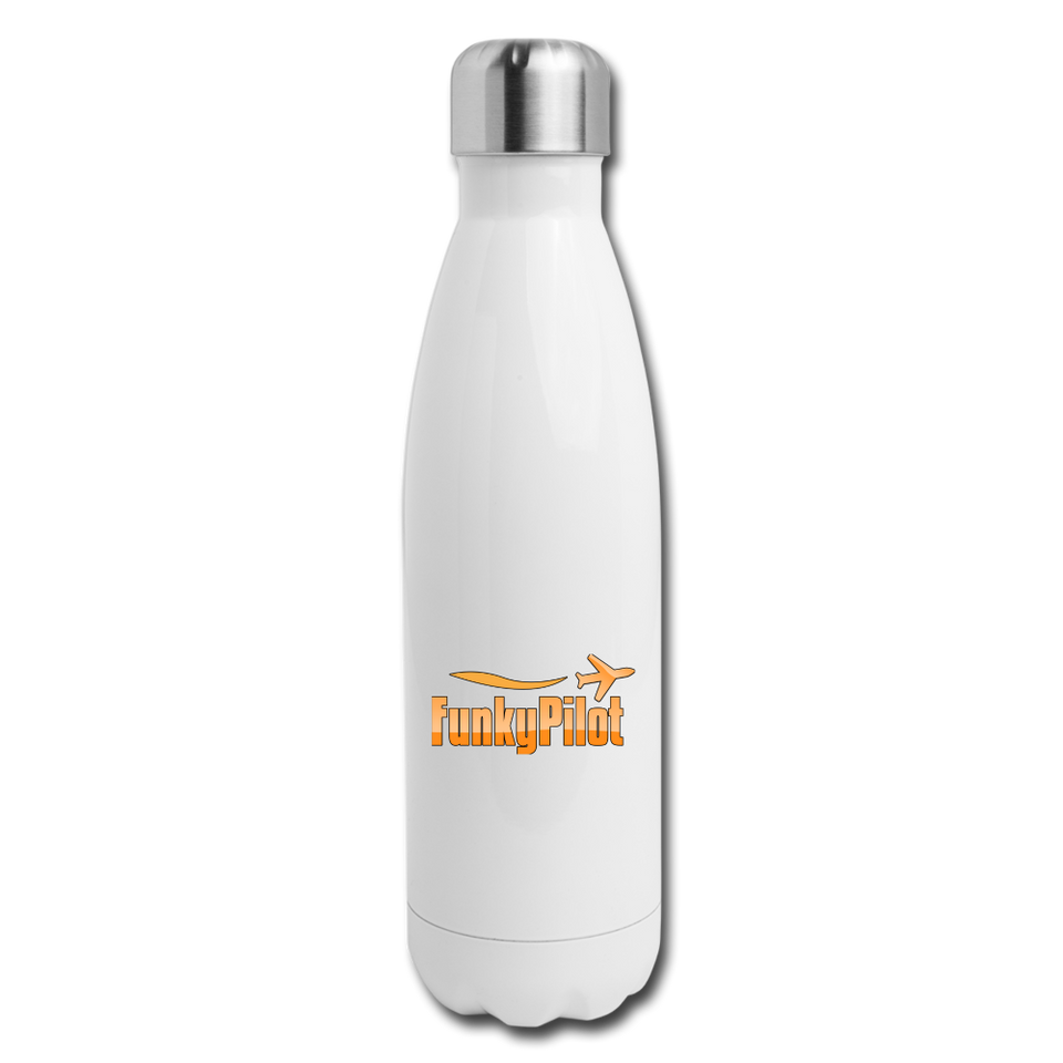 Insulated Stainless Steel Water Bottle, FunkyPilot - white