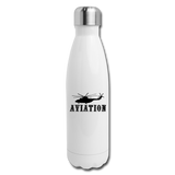 Insulated Stainless Steel Water Bottle, Aviation Helicopter - white