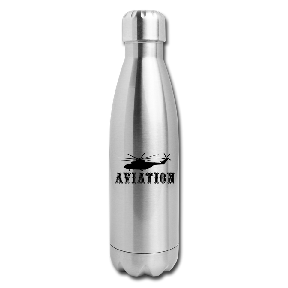 Insulated Stainless Steel Water Bottle, Aviation Helicopter - silver