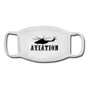 Youth Face Mask, Aviation Helicopter - white/white