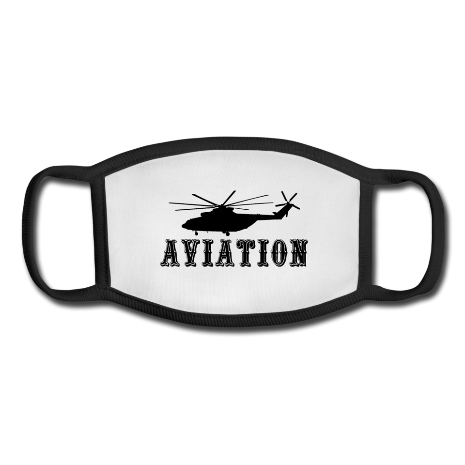 Youth Face Mask, Aviation Helicopter - white/black
