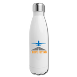 Insulated Stainless Steel Water Bottle, I Love Flying - white