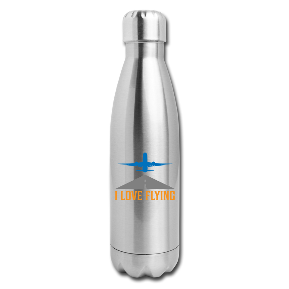 Insulated Stainless Steel Water Bottle, I Love Flying - silver